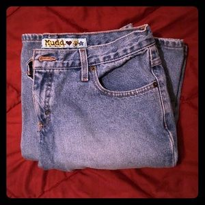 Mudd wide flare mid-rise blue jeans, like new